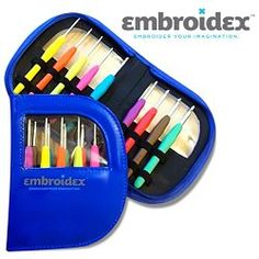 Embroidex 9 Pc Ergonomic Crochet Hooks Needles - Color Coded - Non Slip Cushioned Handles In Beautiful Case