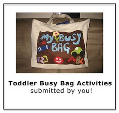 Toddler busy bags for trips and long waits.  Pack a few so they're not always the same.