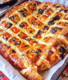 Greek Recipes, Pepperoni, Vegetable Pizza, Quiche, Food And Drink, Bread, Cooking, Breakfast, Savoury Pies