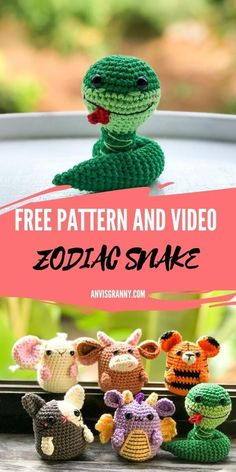 Wanna learn how to crochet a snake amigurumi? This easy-to-follow and no-sew crochet snake amigurumi free pattern and video tutorial will help you! The Chinese zodiac snake amigurumi free pattern is a beginner-friendly instruction, as other crochet zodiac animals inside my collection. Crochet this small snake right now within a few hours and use it as a perfect birthday gift for June or snake sign people Crochet Amigurumi Free Patterns, Crochet Doll Pattern, Crochet Toys, Crochet Ball, Crochet Birds, Crochet Animals, Learn To Crochet, Easy Crochet, Free Crochet