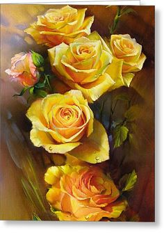 Yellow Roses Greeting Card by Roman Romanov