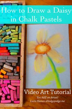 A video daisy chalk pastel art tutorial for all ages! How to draw a daisy and and dreamy background with just simple supplies.
