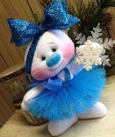 Primitive HC Raggedy Christmas Sugarplum Snowflake Snowman Snow Girl Doll Blue #IsntThatCute #Christmas