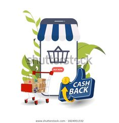 Online Cashback Concept Happy People Receiving Stock Vector (Royalty Free) 1824951332 Web Banner, Happy People, Image Now, Royalty Free Stock Photos, Concept, Illustration, Illustrations