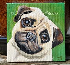 Pug Mini Canvas Original Painting pug art dog art dog