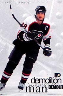 "Philadelphia Flyers - Eric Lindros, ""The Demolition Man. Kings Hockey, Hockey Girls, Hockey Mom, Ice Hockey, Hockey Stuff, Flyers Hockey, Hockey Teams, Sports Teams, Philadelphia Flyers"
