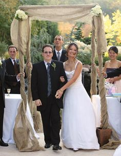 Burlap chuppah  Lauren, Andrea, Heather -what do you think about this? Yay or nay?