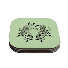 Kess InHouse Jaidyn Erickson 'Foxybuns' Coasters