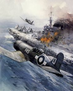 """""""No Place To Land"""" by Michael Turner. Royal Navy Corsairs return to their carrier to find a blazing flight deck following a Kamikaze attack. Chance-Vought F4U-1A Corsair II Fleet Air Arm HMS Illustrious South West Pacific."""