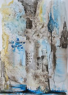 "Saatchi Art Artist Esra Kizir Gokcen; Drawing, ""City is Rising 2"" #art"