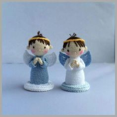 Angels Boys and girls Free Crochet Pattern by Double Treble Trinkets. size Cute little angels to crochet. Free Pattern More Patterns Like This!A directory of free Amigurumi crochet patternsCategories Animals Christmas Dolls Easter Flowers Mice OtherS Christmas Crochet Patterns, Crochet Ornaments, Holiday Crochet, Crochet Gifts, Crochet Dolls, Crochet Snowflakes, Crochet Angel Pattern, Crochet Angels, Dishcloth Knitting Patterns