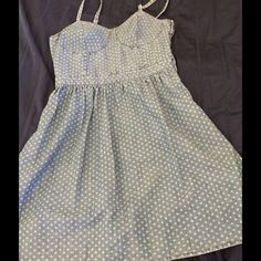 Denim polka dot dress. Cute polka dot dress. Fitted at the top with a fuller skirt. Mossimo Supply Co. Dresses Mini