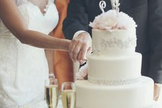 Bride and Groom Cutting the cake Hyatt Regency Huntington Beach