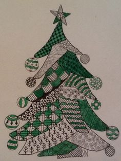 Painted Christmas Cards, Christmas Arts And Crafts, Christmas Ornament Crafts, Christmas Crafts, Xmas, Christmas Tree Zentangle, Christmas Doodles, Christmas Drawing, Zen Doodle Patterns