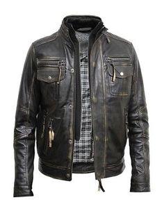 ec5b6d56d Brandslock Mens Genuine Leather biker jacket Vintage Distressed