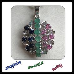"""Natural Emerald Ruby Blue Sapphire Necklace ♦️Wow! ♦️This is over 4 carats of """"natural"""" gemstones! I am selling this for a friend of mine♦️ She had this hand made♦️There are 7 round genuine emeralds, ❤️6 genuine round rubies6 genuine round blue sapphiresI t is set in Sterling Silver and It is adorned with a Sterling silver box chain necklace that is 16"""" long♦️I can change the chain to any length that you like so just ask! ♦️You will love this one of a kind piece, don't miss out♦️❤️ Vintage…"""