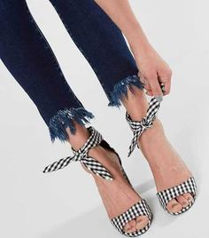 dd21b38f014 Qupid Alona Heeled Sandal - Black US 7 Gingham Shoes