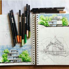 master of landscape architecture Architecture Drawing Sketchbooks, Architecture Concept Drawings, Landscape Architecture Drawing, Architecture Portfolio, Architecture Design, Architecture Colleges, Computer Architecture, Watercolor Architecture, Architecture Diagrams