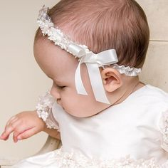A perfect addition to her Christening Gown or Dress. Our girls headbands will help complete her outfit while looking her best! Makes for a great wedding garter when older! Baptism Outfit, Baptism Gown, Christening Gowns, Baptism Clothes, Newborn Girl Headbands, Newborn Outfits, Silk Ribbon, Ribbon Bows, Baby Girl Baptism