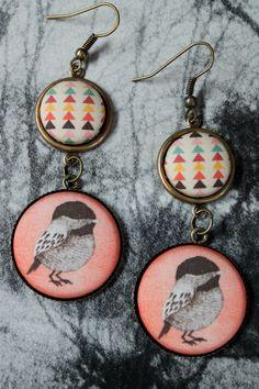 Bird Fabric Button Earrings