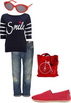 Red, white, and blue, created by janeamcdonald on Polyvore Clothes  Outift for • teens • movies • girls • women •. summer • fall • spring • winter • outfit ideas • dates • parties Polyvore :) Catalina Christiano