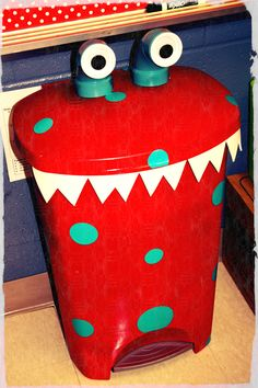 "Monster Trash Can with PVC pipe eyes! CUTE! I either want to do a monster theme next year or an ""up"" theme!!"