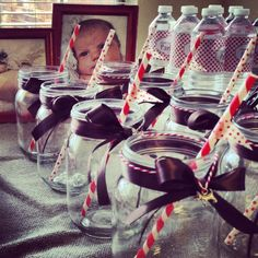 """Mason Jars for """"puppy"""" themed party"""