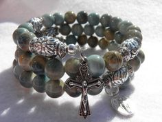 Earthtone Green Brown and Blue Turquoise by rosarybraceletwrap5, $55.00