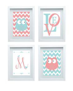 Owl - Nursery Art Personalized Initial, Chevron Print Pink Aqua, Girl's room Wall Art Home Decor Set of 4 - 8x10 Prints Baby's room Decor on Etsy, $45.00