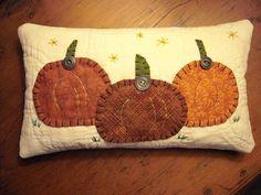 Primitive Folk Art Pumpkin Halloween Thanksgiving Pillow Autumn Fall Harvest Quilted Fabric Art. $18.50, via Etsy.