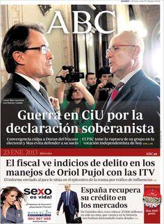 Los Titulares y Portadas de Noticias Destacadas Españolas del 23 de Enero de 2013 del Diario ABC ¿Que le parecio esta Portada de este Diario Español?