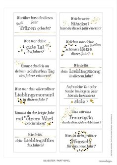 silvester-party game-printable jahresrueckblick Source by Party Silvester, Diy Silvester, Eve Game, New Year's Eve Cocktails, Annual Review, New Years Eve Weddings, New Years Eve Outfits, New Years Decorations, Nouvel An