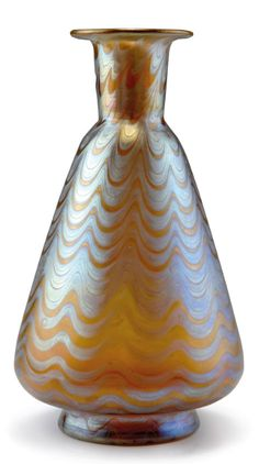 Loetz, Klostermühle. Phänomen vase, 1898. H. 23.7 cm. Cased glass, pink and clear, combed silver-yellow threads, Phänomen Gre 6893, matt mother-of-pearl lustre. Signed: Loetz Austria.