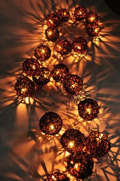 20 brown rattan ball string home indoor bedroom decor christmas wedding lights