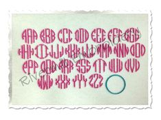 $2.95Small Mini Thin Circle Monogram Machine Embroidery Font Alphabet