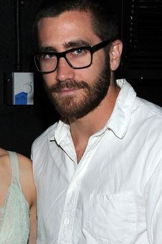 Hot Guys with Four Eyes:  Jake Gyllenhaal pulls a double punch with glasses AND a beard. *swoon*