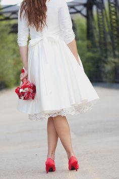 Short Wedding Dress with Sleeves and Pockets - Janie Jones. $775.00, via Etsy.