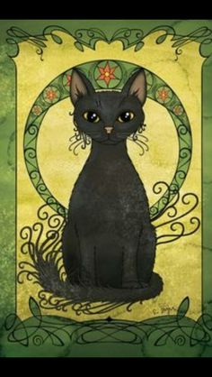 Art Nouveau Print, Black Cat Poster, Wall Decor, H - Gatos Graciosos Art Nouveau Poster, Art Nouveau Illustration, Black Cat Illustration, Cat Illustrations, Black Cat Art, Black Cats, Gatos Cats, Cat Posters, Cat Drawing