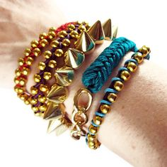 Spikes bracelet GOLD and SILVER small studs by deathdiscolovesyou, $6.00