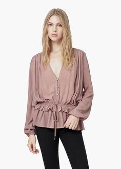 Fluted hem blouse -  Women | MANGO
