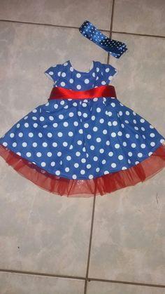Vestido azul poá
