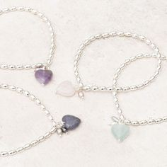 Maya Stone Heart Personalised Silver Bracelet - charm jewellery