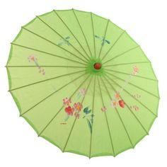 Umbrela chinezeasca verde cu flori | Aniversaria.ro