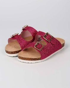 New Girl Ifama Glitter Open Toe Double Buckle Footbed Sandal Size 11 - 4 #JellyBeans #OpenToe