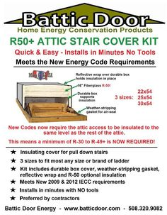 Attic Stair Insulated Cover 22x54 R 50 Insulation