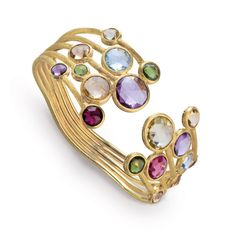 Marco Bicego 18K yellow gold five row bangle with rose cut cushion multi-colored semi-precious gemstones. Inspired by a tropical Indian sunset and the stone-cutting heritage of Jaipur, this Jaipur Color Multicolor Gemstone Bracelet is hand engraved by Italian artisans. https://www.facebook.com/DiamondDreamFineJewelers  https://twitter.com/Diamond_Dream_  https://plus.google.com/+DiamondDreamFineJewelersBernardsville  https://www.instagram.com/diamonddreamjewelers
