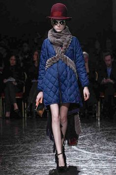 The wrapping techniques at undercover re highlighted here in an open shaped quilted jacket and velvety braided rope scarf accent.  Undercover Fall 2014 Ready-to-Wear Collection Slideshow on Style.com