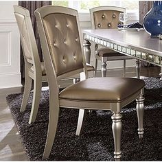Rosdorf Park Cristian Tufted Leather Upholstered Dining Chair in Silver Solid Wood Dining Chairs, Dining Arm Chair, Upholstered Dining Chairs, Dining Table, Dining Room, Ashley Furniture Outlet, French Kitchen Decor, Fine Furniture, Adjustable Shelving