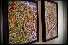 ❄  Hang board games on your play room walls ( no glass front in frame! ) with a baggie on the back to hold pieces...