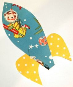 Rocket Applique Iron or Sew On Michael Miller Fabric